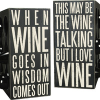 Box Sign 6 Bottle Wine Rack Holder - Double Sided 16-in
