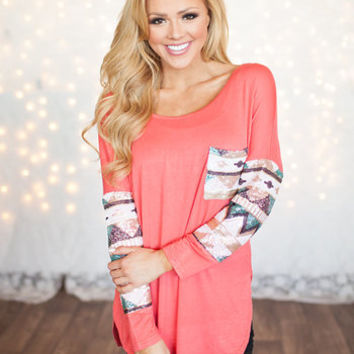All Mine Sequins Top Coral