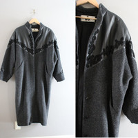 Black Wool Coat Avant Garde Leather Trimmed Duster Jacket 80s Vintage Ankle Length Wool Cocoon Coat Long Winter Coat Size OS