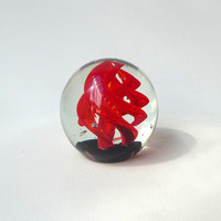 Vintage clear hand blown red swirl bubble glass paper weight