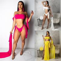 Women Sexy 3Pc Push Up Bikini Cover Up Set