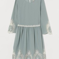 Dress with Lace - Dusky green - | H&M US