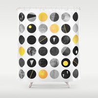Dots / Yellow & Black Shower Curtain by elisabethfredriksson
