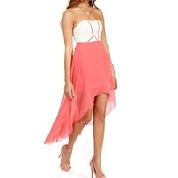 Pre-Order: Coral Strapless Sweetheart Hi Lo Dress