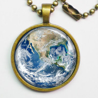 Planet Necklace - The Earth  Blue Marble Earth  by FantasticDIY