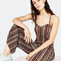 Long pleated jumpsuit with stripe print - New - Bershka United Kingdom