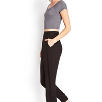 FOREVER 21 Pleated Woven Harem Pants Black
