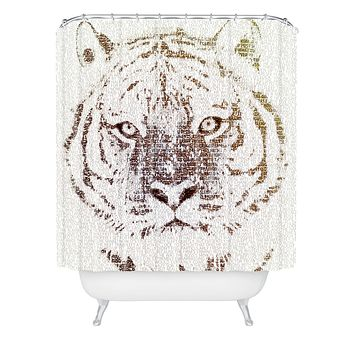 Belle13 The Intellectual Tiger Shower Curtain