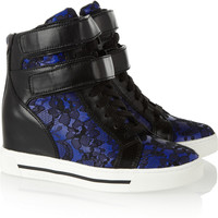 Marc by Marc Jacobs|Leather and lace wedge high-top sneakers |NET-A-PORTER.COM