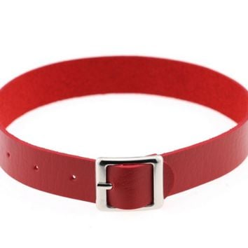 """11"""" - 14"""" red faux leather belt buckle choker adjustable necklace .75"""" wide"""
