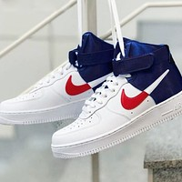 Samplefine2 NIKE Air Force AF1 Fashion Men Women Personality High Help Sport Shoes Sneakers White&Blue