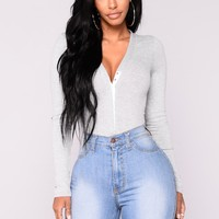 Matilda Ribbed Bodysuit - Grey