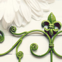 Fleur De Lis Decor / Metal Wall Hanger / Wall Hook / Green Home Decor / Towel Rack / Coat Hook / Shabby Chic / French Country / Fixture