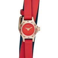 Women's MARC BY MARC JACOBS 'Super Dinky Blade' Silicone Strap Wrap Watch, 15mm - Red/ Rose Gold