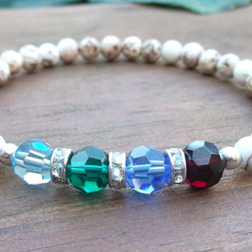 Mothers Birthstone Bracelet with Cream Color Howlite