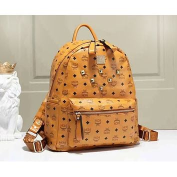 MCM Popular Classic Women College Leather Satchel Backpack Bookbag Shoulder School Bag Brown I