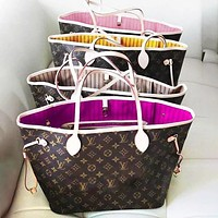 """Louis Vuitton"" Bag Classic Popular Women Shopping LV Bag Leather Handbag Tote Cosmetic Bag Two Piece Set"