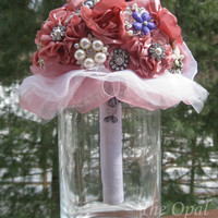 Handcrafted Pink Fabric Brooch Bouquet with Rhinestone Buttons-Pink Bling Bouquet