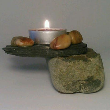 Slate and Rock Tealight Candle Holder, Room Decor,