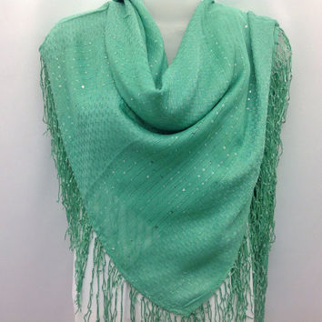 Mint Aquamarine Square Fringe shawl, Sister gift, Best friend gift, Thank you gift, Coworker, Boss, Gift for Mom, Teacher, Piano shawl