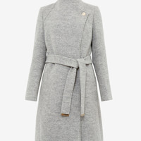 TEXTURED LONG WRAP - Grey Marl | Jackets & Coats | Ted Baker UK