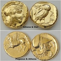 For Percy Jackson Fans! 2 Athena Coin Reproductions of Athena, Goddess of Wisdom. 24K Gold Plate