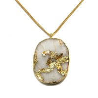 White Druzy Gemstone Gold Dipped OHM Pendant 18inches thin chain boho chic Necklace druse bohemian jewelry wedding gift huge OM Aum druzzy