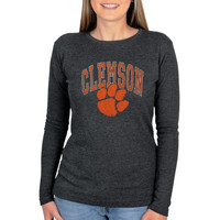 Clemson Tigers Women's Arch Logo Long Sleeve Thermal T-Shirt - Gray