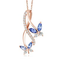Rose Gold 925 Silver Tanzanite Necklace