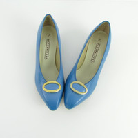 Cornflower Blue Kitten Heels - Vintage 1980s Size 8 Leather Pumps NOS by Naturalizer
