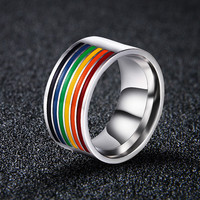 LGBT STAINLESS STEEL STRIPED RAINBOW RING