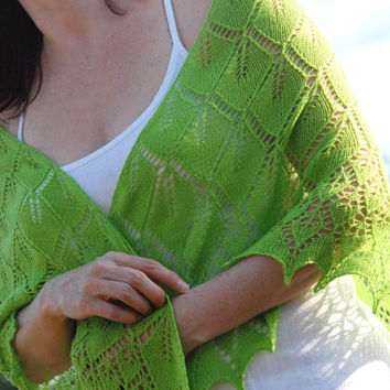 BLACK FRIDAY SALE 30% off Lime Green Hand Knit Shawl, Green Shawl, Knit Scarf in Green, Hand Knit Lace Shawl,  Chartreuse Green  Shawl