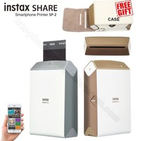 Fujifilm Instax Share Smartphone Printer SP-2, Two Colors Silver and Gold + Matched Case Gift