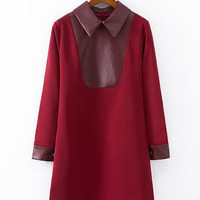 Wine Red Pointed Flat Collar Long Sleeve Leather A-Line Mini Dress