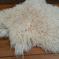 Vintage Off White Faux Sheepskin Rug Throw