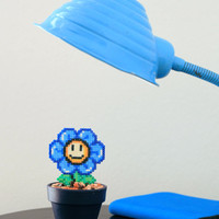 Super Mario Inspired Tiny Blue Smiling Daisy. Kawaii, Cute & Colorful Flower.