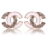 Limited Edition Gold White CC Stud Earring with Clear White Crystal