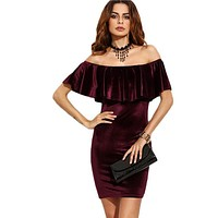 Ruffle Off The Shoulder Velvet Bodycon Dress Sexy Women Short Sleeve Club Wear Mini Dresses 2016 Autumn And Winter Dress ukraine