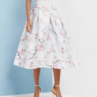 Oriental Blossom full skirt - Light Grey | Skirts | Ted Baker UK