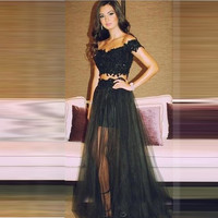 2016 Sexy Black Two Piece Prom Dress Off The Shoulder Sweetheart Prom Dress Beading V Neck Prom Dress Floor Length