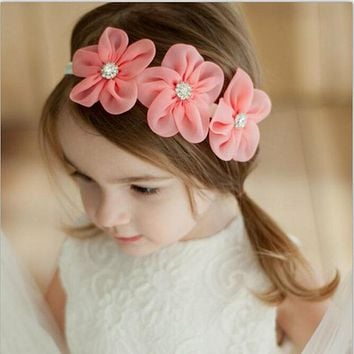 Ribbon Pearl Diamond Hairband born Hair bands Sewing 3 Flowers Headband Kids Hair Accessories for Girls