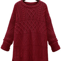 Solid Color Cable-Knit Sweater