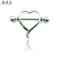 Free Shipping Classic Nipple Rings Stainless Steel Barbell Alloy Heart Breast Fake Body Piercing Jewelry