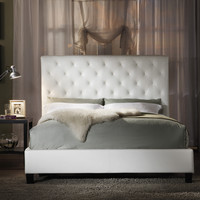 TRIBECCA HOME Sophie White Bonded Leather Tufted Queen-sized Upholstered Platform Bed