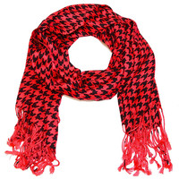 Houndstooth Fringed Red Oversized Scarf
