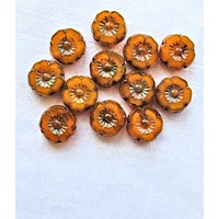 Lot of 12 9mm Czech glass flower beads - translucent pumpkin orange picasso - table cut carved hibiscus Hawaiian floral beads - 06125