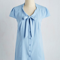Freelance Spirit Top in Dusty Blue | Mod Retro Vintage Short Sleeve Shirts | ModCloth.com