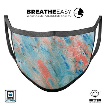 Abstract Wet Paint Coral Blues - Made in USA Mouth Cover Unisex Anti-Dust Cotton Blend Reusable & Washable Face Mask with Adjustable Sizing for Adult or Child
