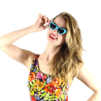 Vintage Blue Heart Sunglasses perfect for summer fashion, beach accessories, spring accessories, bright blue sunglasses.