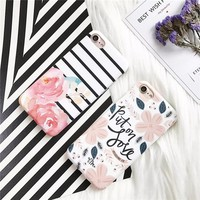 Luxury Cute Cartoon Flowers Floral soft imd tpu Phone Cases Back Cover Coque Funda For iPhone 6 Case For iphone 6S 7 7 Plus Capa